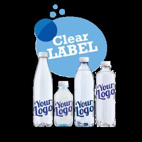 Logovand med transparent etiket