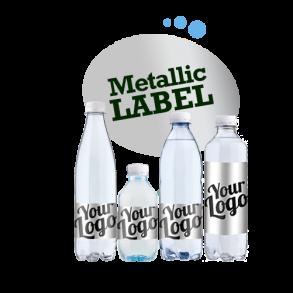 Logovand med metallisk etiket